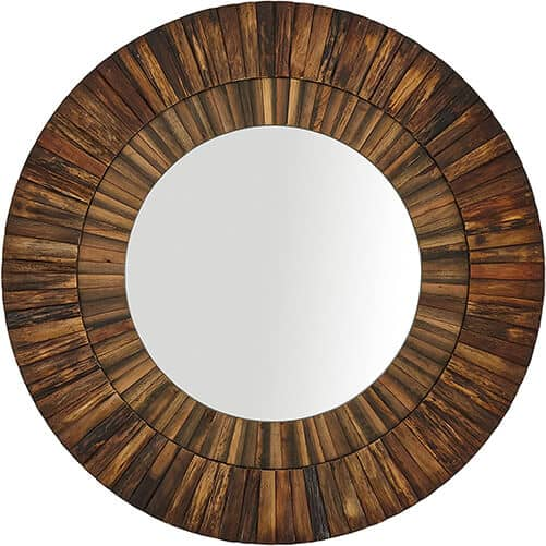round layered rustic wood hanging wall mirror (1)